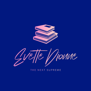 a pink and purple logo that has a photo of books with Evette Dionne in italic fonts